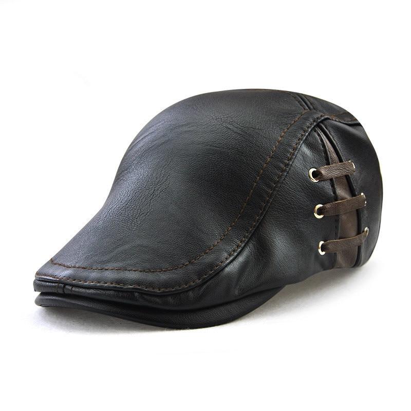 8a98d493c3a45 Autumn Winter Leather Flat Cap Men Women Gold Ivy Cabbie Hat Duckbill Boina  Berets 2018 (BIG DISCOUNT June 2019)