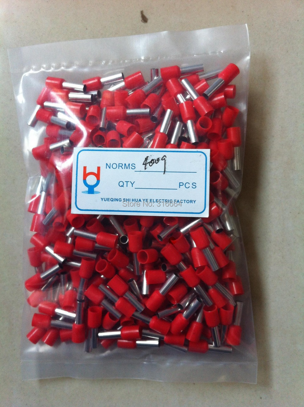 E4009 pvc insulated electrical pin crimp terminal wire size 4 mm2 e4009 pvc insulated electrical pin crimp terminal wire size 4 mm2 1000pcs in bag greentooth Images
