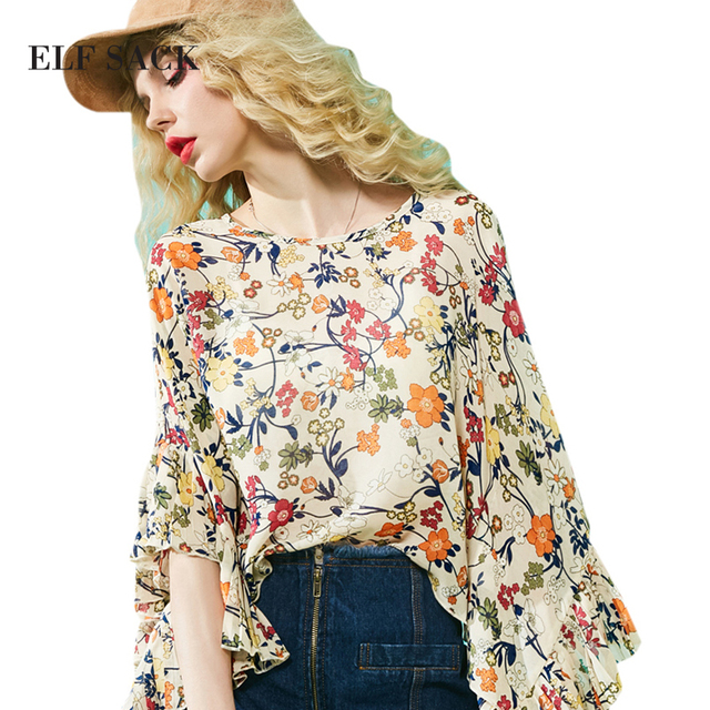 ELF SACK 2017 Summer Women Bohemia Prints Chiffon Blouses Female Back Hollow Out Sexy Tops Ruffle Batwing Sleeve Vintage Blouse