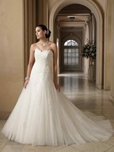 11-18 Beautiful Sweetehart Ruffle A-line Tulle Appliques Wedding Dresses