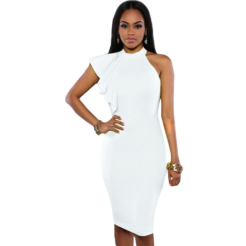 b04d7b9abb569 Vestidos Mujers 2016 Black/White/Yellow One Shoulder Ruffle Sleeve Bodycon  Dress Women Summer Dress Pencil Midi Formal Dress H35