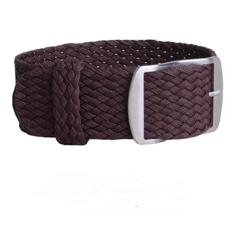 """מר NENG מותג 1 יחידות אופנה רצועת שעון רצועת שעון ניילון ארוג 20 מ""""מ 22 מ""""מ עבור Perlon Strap14 שעון בצבע כהה שחור 16 18 מ""""מ"""