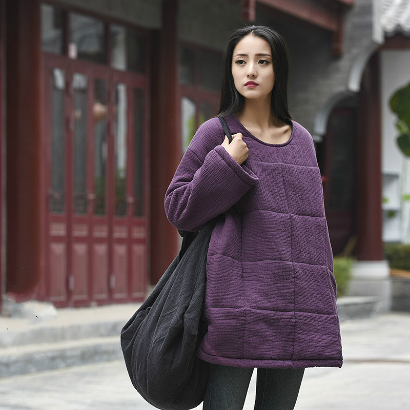 LZJN Womens Long Padded Warm Coat Quilted Pullover Jacket Parkas Chinese Style Outwear
