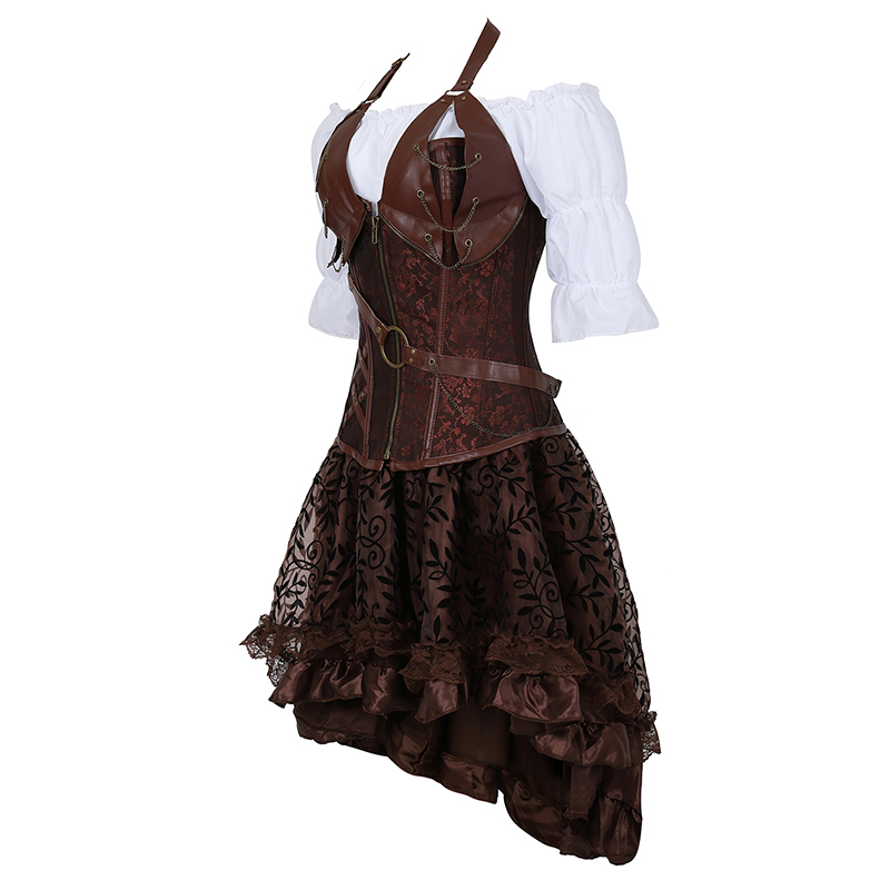 Image 2 - Steampunk Bustier Corset Plus Size 6XL PU Leather Corset Skirt Tops 3 Piece Set Gothic Burlesque Pirate 2019 New Arrival 8105 3-in Bustiers & Corsets from Underwear & Sleepwears