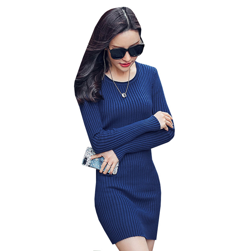 Women Sweater Dress New Autumn Winter Warm Thick Knitted Dress Female Long Sleeve Casual Slim Bodycon Dresses Vestidos AB392 2017 winter women jacket new fashion thick warm medium long down cotton coat long sleeve slim big yards female parkas ladies269