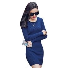 Для женщин Платья-свитеры Новый осень-зима теплый толстый вязаное платье женский с длинным рукавом Повседневное Тонкий Bodycon Платья для женщин Vestidos ab392