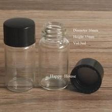 1000sets X 3ML Clear Empty Mini Glass Bottle, 3ML Mini Glass Vials,3CC Screw Neck Sample Vials With Black Cap