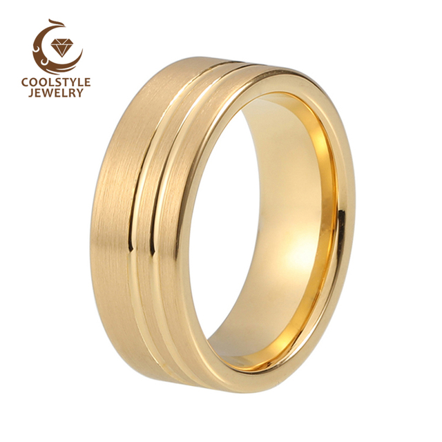 Womens Mens 8mm Matte Brushed Tungsten Ring Yellow Gold Color Wedding Band Double Offset Lines Comfort