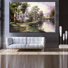 Hometown Lake Thomas Kinkade Art Painting Prints on Canvas for Living Room Decor Wall Picture Customed and Wholesale