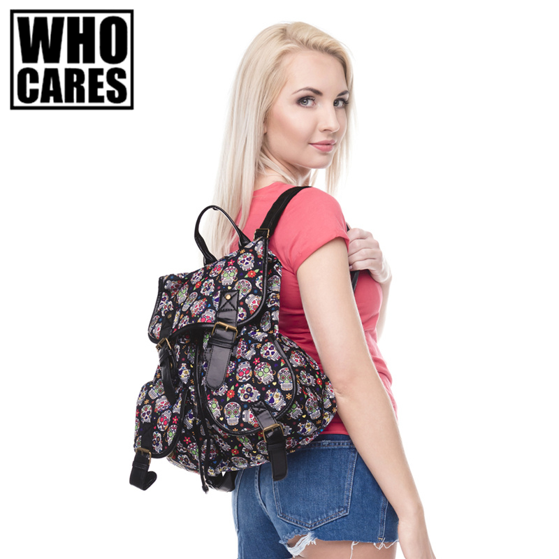 MEXICAN FLOWER SKULL Print leather backpack vintage backpack women 2016 who cares fashion new mochila school bags for teenagers tropical doodle 3d printing mini backpack women mochila masculina who cares new canvas backpacks for teenagers girls school bags