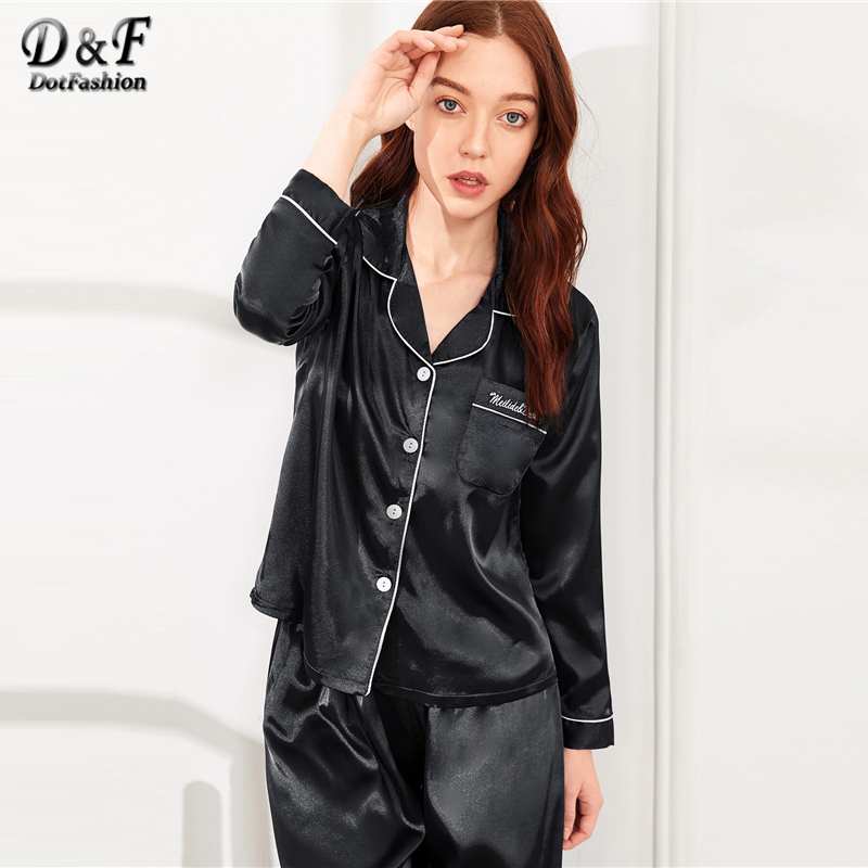 Image 5 - Dotfashion Black Button Letter Embroidered Satin Pajama Set 2019 Casual Pajamas For Women Spring Summer Long Sleeve Nightwear-in Pajama Sets from Underwear & Sleepwears