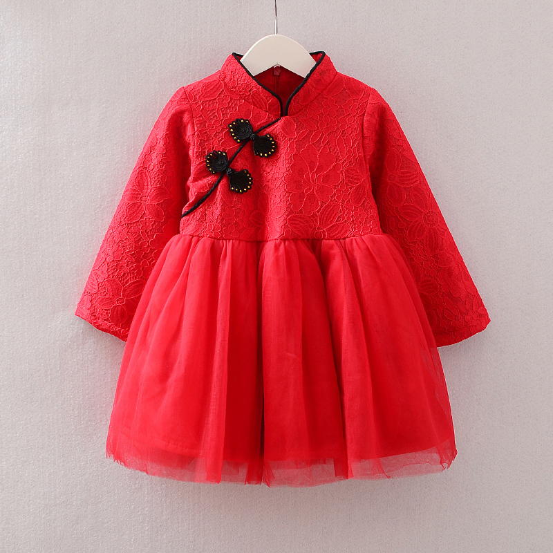 Princess Dress Girl Christmas Clothes Girls Thick Long Sleeve Dress Chinese New Year Dresses Elegant A Line Robe Fille Vestidos