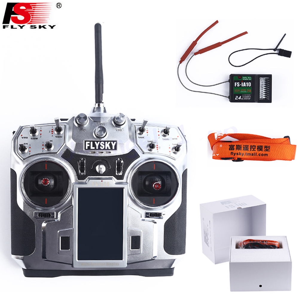 Original FlySky FS-i10 I10 2.4g Digital Proportional 10Channel Transmitter With FS-IA10Receiver System 3.55 LED Screen