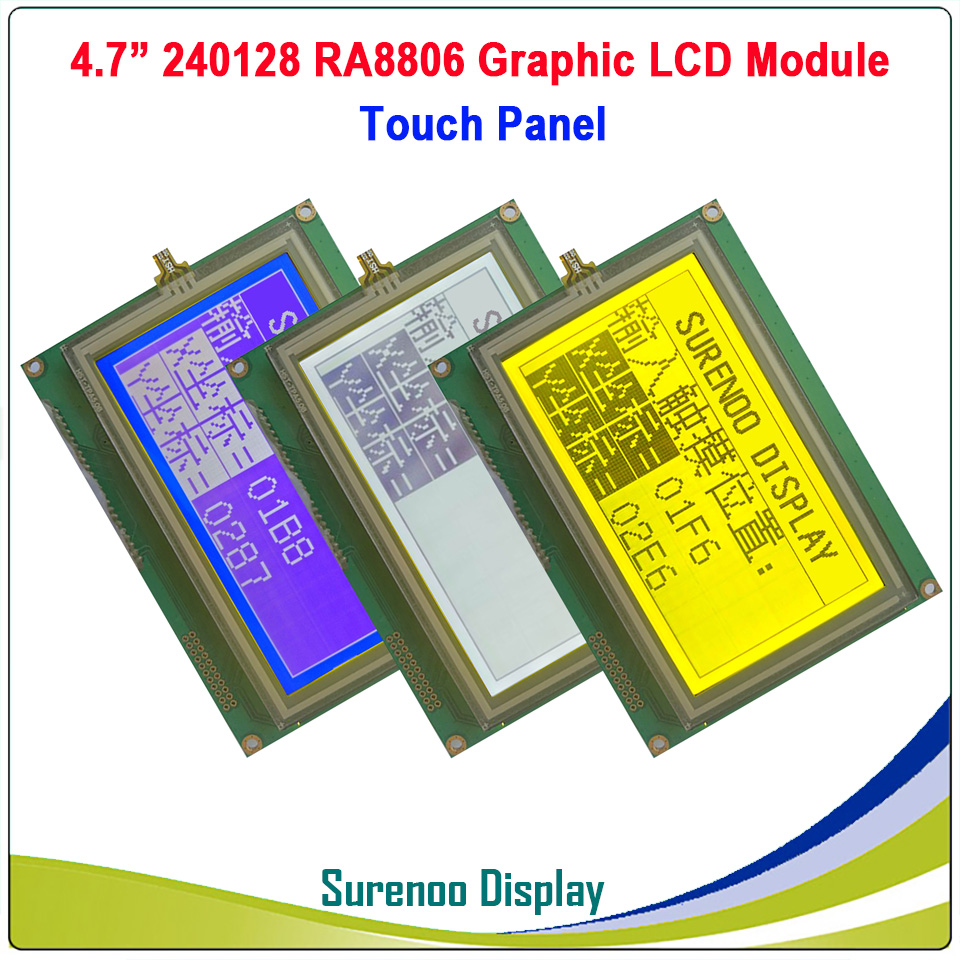 240128 240*128 Graphic Matrix LCD Module Display Screen With Touch Panel Build-in RA8806 Controller, 3.3V/5.0V