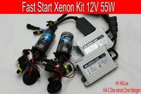 Free Shipping 12V 55W Fast Start Brightness HID Xenon Kit H4 2 High And Low Xenon