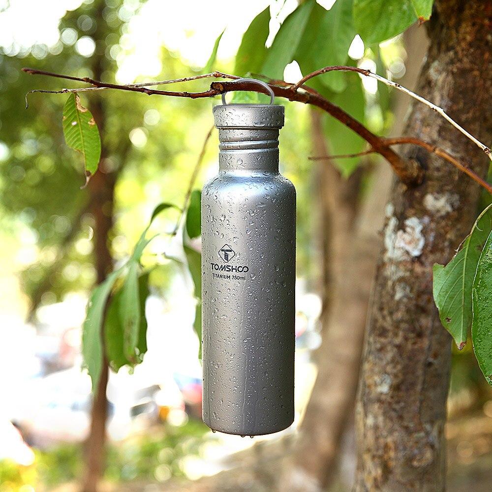 Lixada vaisselle d'extérieur 300 ml/750 ml bouteille d'eau en titane avec couvercle en plastique Extra-léger Camping en plein air randonnée cyclisme - 6