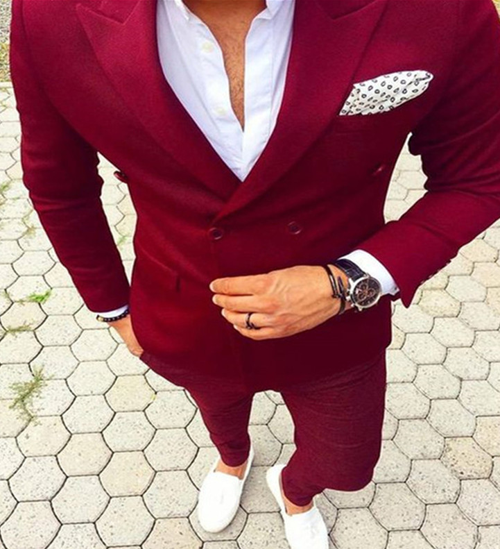 Piekte Revers Double Breasted mannen Pak Terno Masculino (Jas + Broek) kostuum Homme Mens Suits Fashion Nieuwste Jas Broek Ontwerp-in Pakken van Mannenkleding op AliExpress - 11.11_Dubbel 11Vrijgezellendag 1