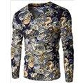 2017 NOVA Plus Size M-XXL Clássico camisa Dos Homens T de Manga Longa V pescoço Dos Homens do T-shirt de Algodão T Encabeça Homens Marca tshirt Camisolas C314
