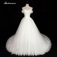 Vestido De Noiva Sexy Boat Neck A Line Wedding Dresses 2018 Short Sleeve Vintage Bridal Gown