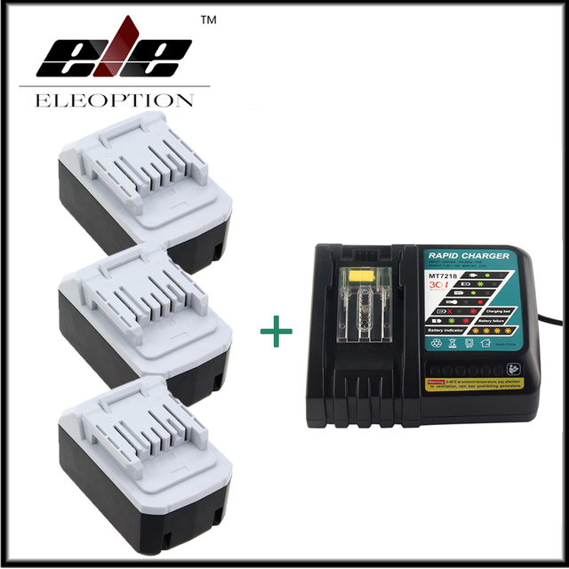 Ny 3x Eleoption 18V 4000mAh Battery For Makita BL1813G DF457D HP457D PC55