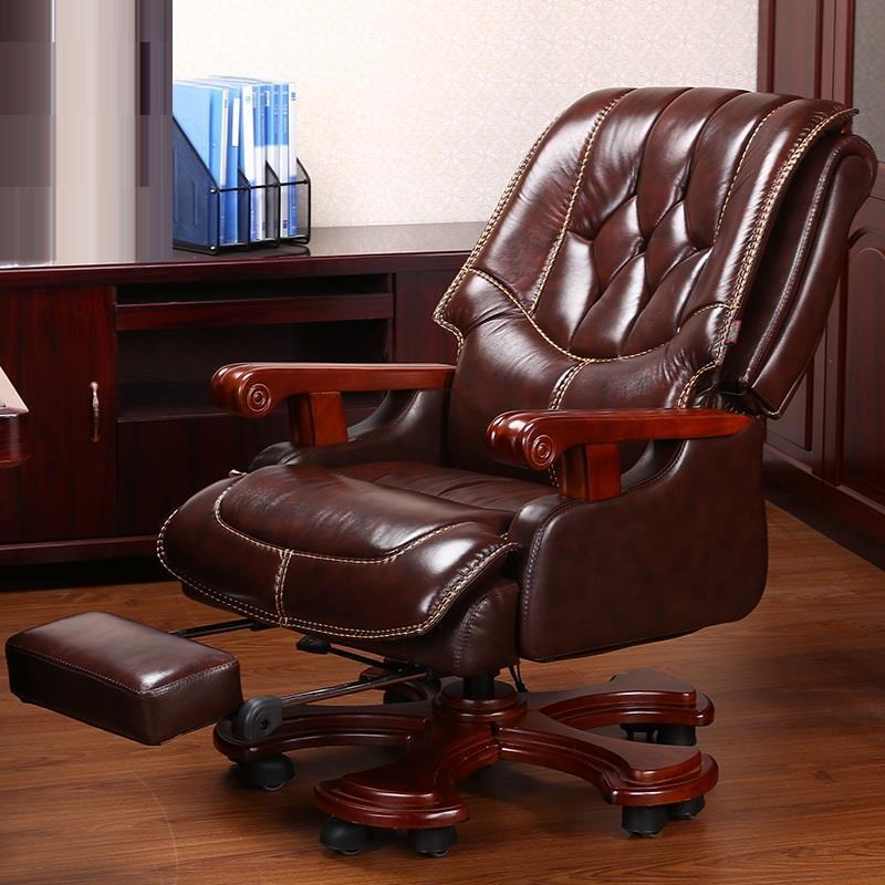 Home office wood swivel class leather boss high-end computer chair boss chair real leather computer chair home massage can lie in the leather chair solid wood armrest office chair 06