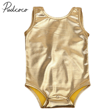6ce0e9acc0f1 PUDCOCO Brand Newborn Infant Baby Girls Costume Sparkle Bowknot Romper  Summer Clothes Gold Color 0-