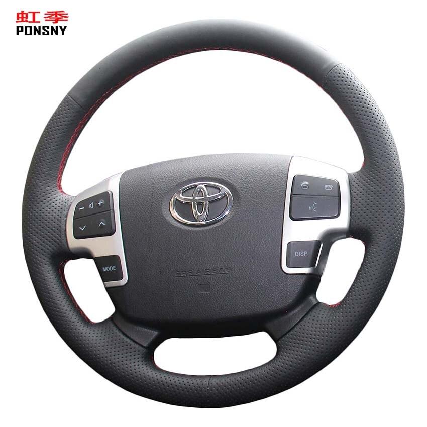 Ponsny Zwarte Kunstmatige Lederen Auto Steering Covers Case Voor Toyota Land Cruiser 2008-2015 Tundra 2007-2013 Sequoia 2008-2013