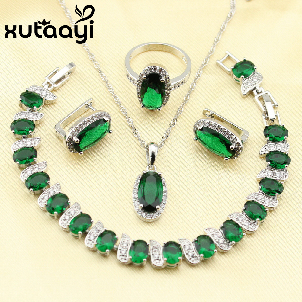 XUTAAYI Lovely Green Created Emerald 4PCS Jewelry Set 925 Pendientes de plata esterlina Anillo Collar Colgante Pulsera Hecho en China