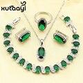 XUTAAYI Precioso Verde Esmeralda Creado 4 UNIDS Sistema de La Joyería 925 Pendientes de Plata de ley Anillo Collar Pendiente Pulsera Hecha En China