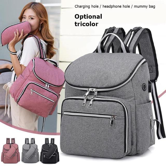 Bolsa de pañales para bebés recién nacidos con carga USB, mochila momia impermeable, bolso portátil, bolsa de maternidad para el cuidado del bebé
