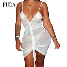 FUDA Sexy Deep V Neck Spaghetti Strap Transparent Mesh Pleated Dress Women Hollow Out Sleveless Summer Beach Party Vestidos