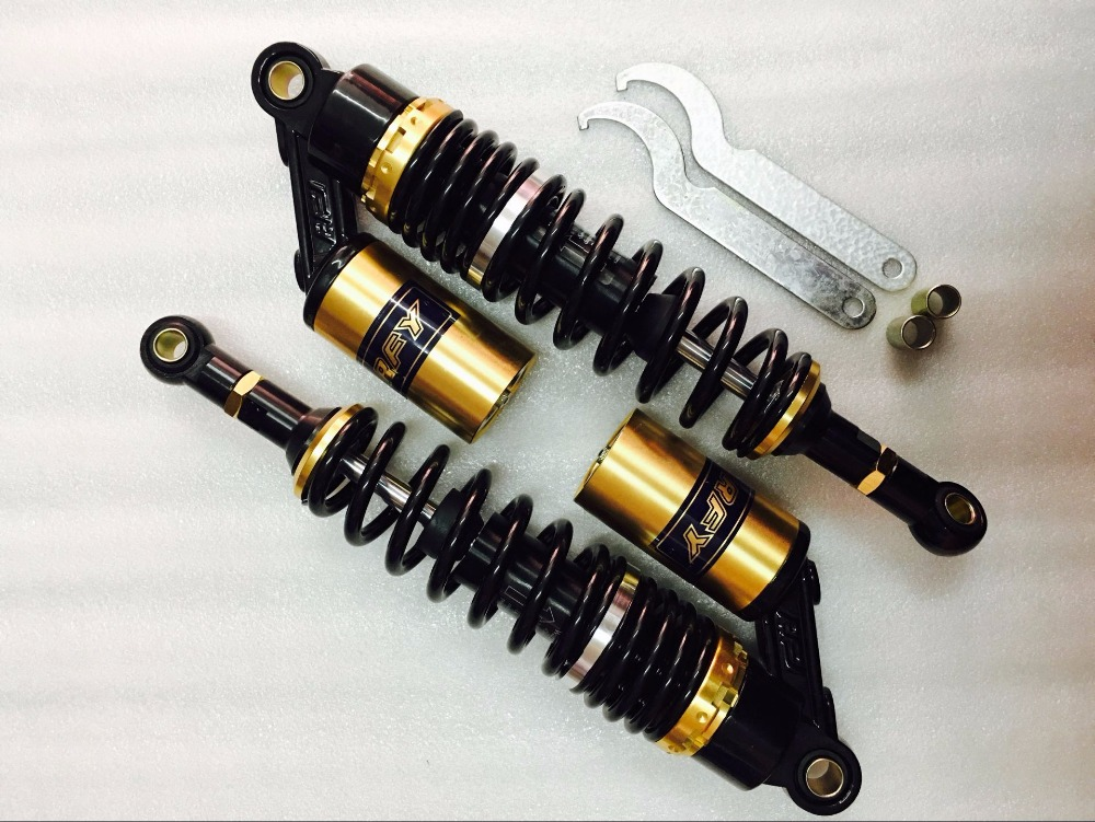 7MM+7.5MM spring 340mm RFY motorcycle air SHOCK ABSORBERS for Scooter Gokart Moped Quad ATV Dirt Street Bikes 150cc-750cc Gold promax driven wheel block for gy6 150cc scooters atvs go karts moped quads 4 wheeler dune buggys
