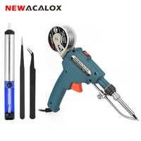NEWACALOX 110 V/220 V 60W US/EU soldador de calefacción interna de mano envía automáticamente pistola de estaño herramienta de reparación de soldadura