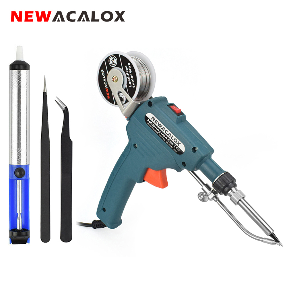 NEWACALOX 110V/220V 60W US/EU Hand-held Internal Heating Soldering Iron Automatically Send Tin Gun Soldering Welding Repair Tool