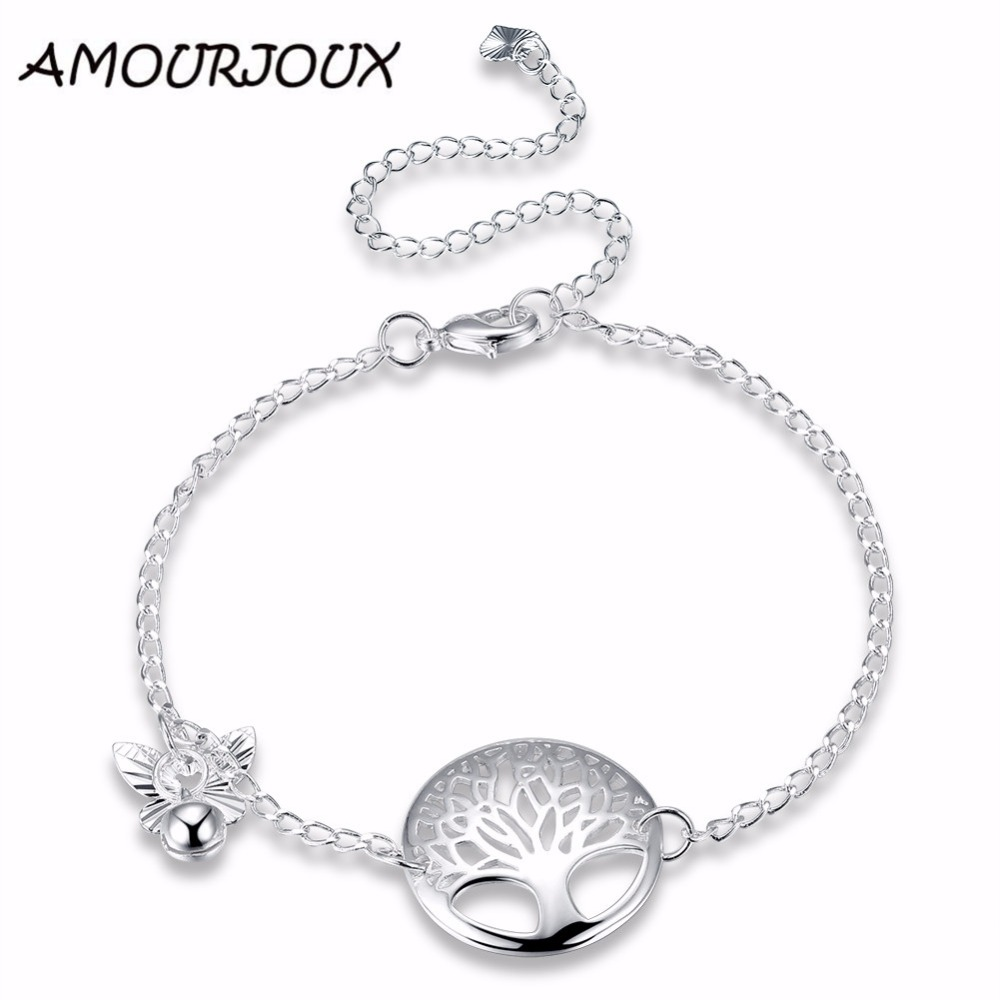 AMOURJOUX LIFE OF TREE Hollow Charm Silver Plated Anklets For Women Ankle Bracelet On The Leg