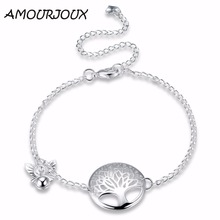 AMOURJOUX TREE Hollow Charm Silver Plated Anklets For Women Ankle Bracelet On The Leg Anklet Silver