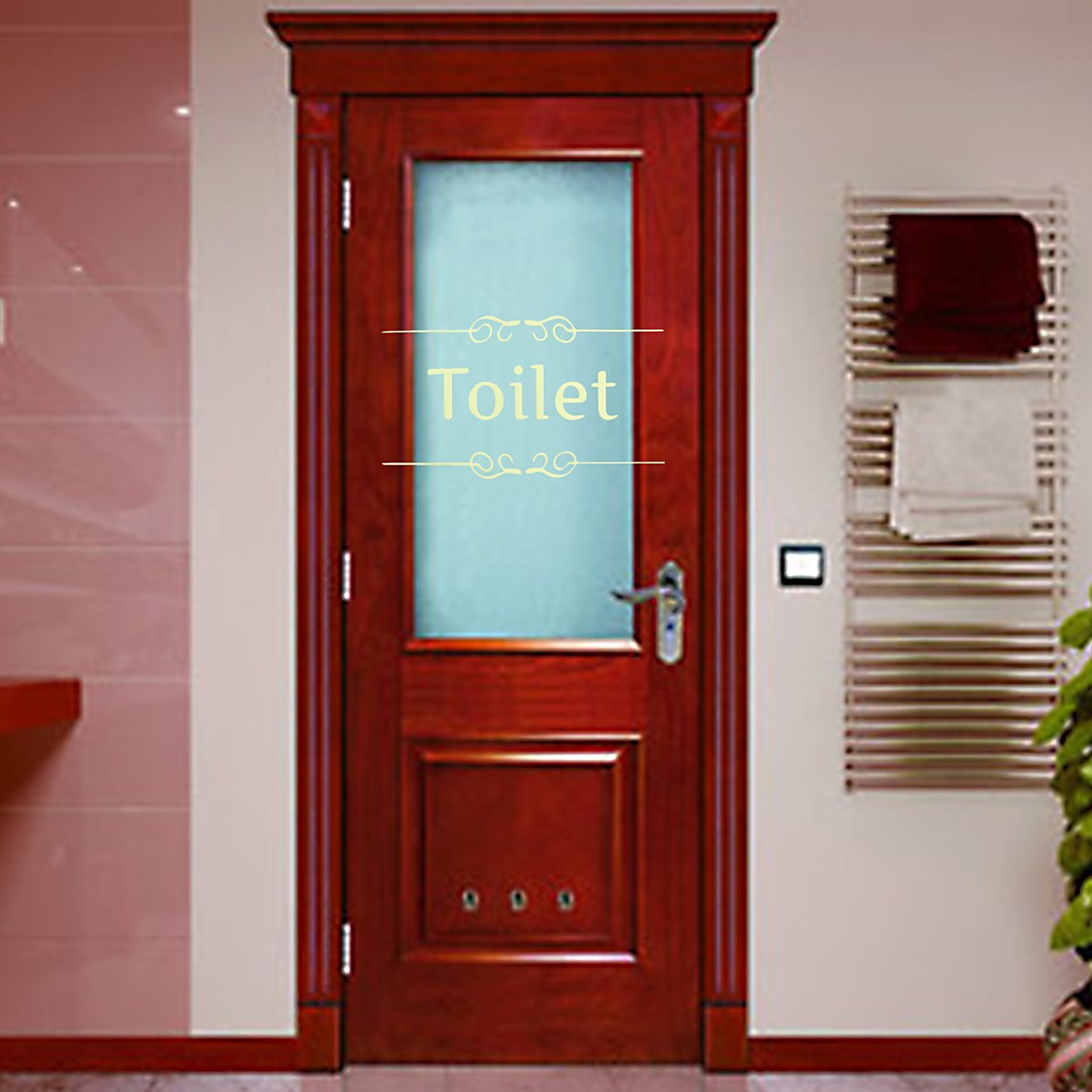 Glass office doors - Bathroom Sign Stickers Newest Shower Room Toilet Door Entrance Decoration Wall Decals For Shop Office Home