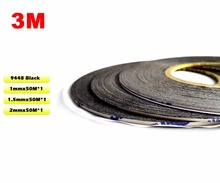 (1ミリメートル/1.5ミリメートル/2ミリメートル)のためのiphone/サムスンandroid rolls huawei電話タッチスクリーンディスプレイガラス3メートル粘着黒テープ プロモーション!ミックス3