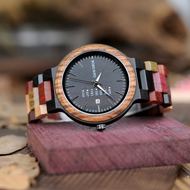 BOBO BIRD Unisex Wooden Colorful Week Date Display Quartz Watches 4