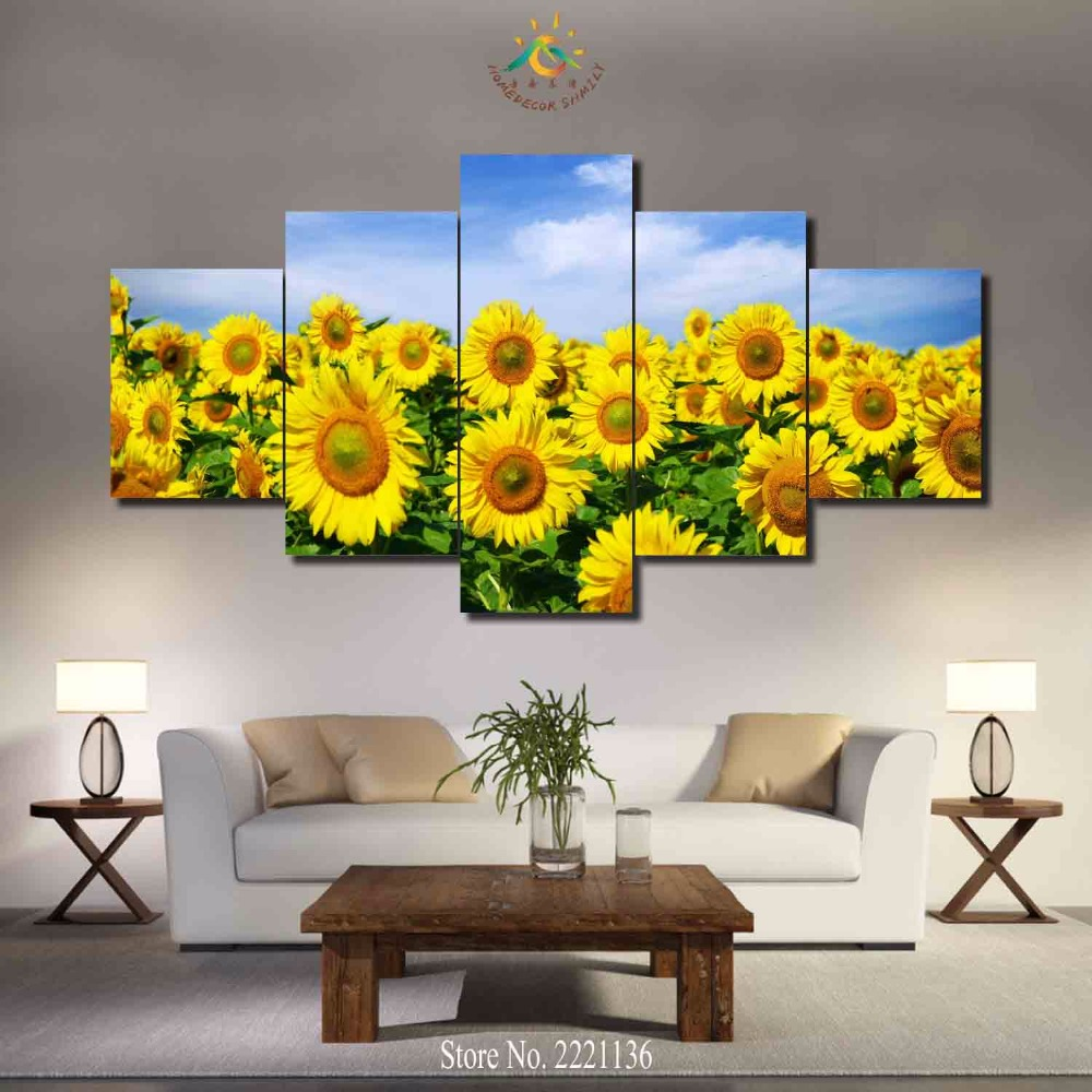 3-4-5 panels/set Sunflower Field Wow HD Printed Paint Home Decoration Living Room Or Bedroom Canvas Print Painting Wall Picture