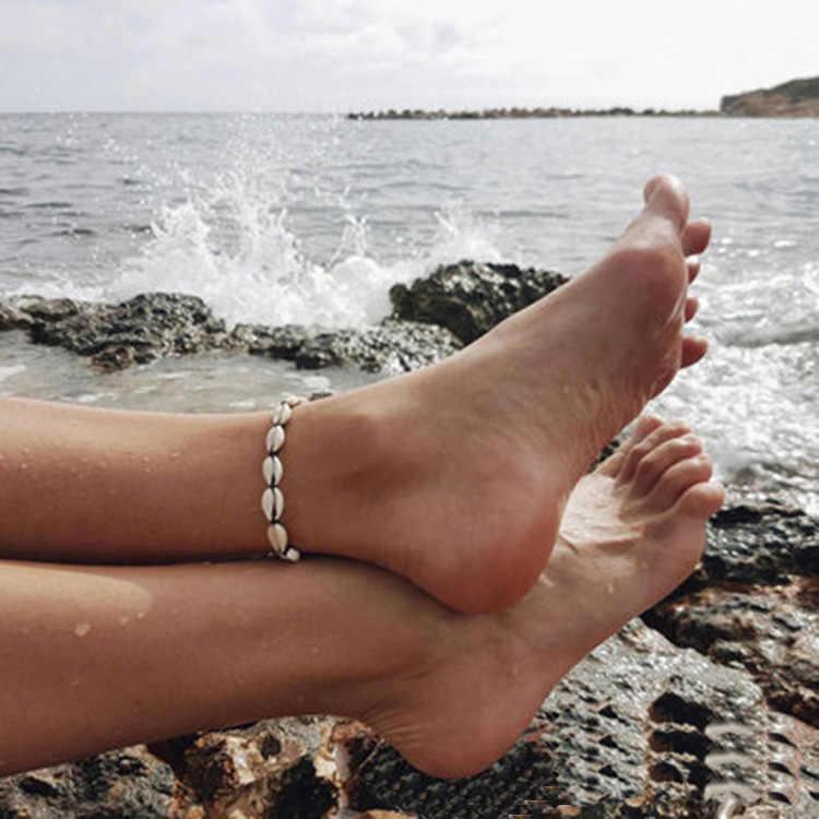 Новые женские браслеты для щиколотки в виде ракушки бижутерия для ног Летний Пляжный браслет со ступнями ног лодыжки на ноге женские с ремешком на лодыжке Богемные аксессуары