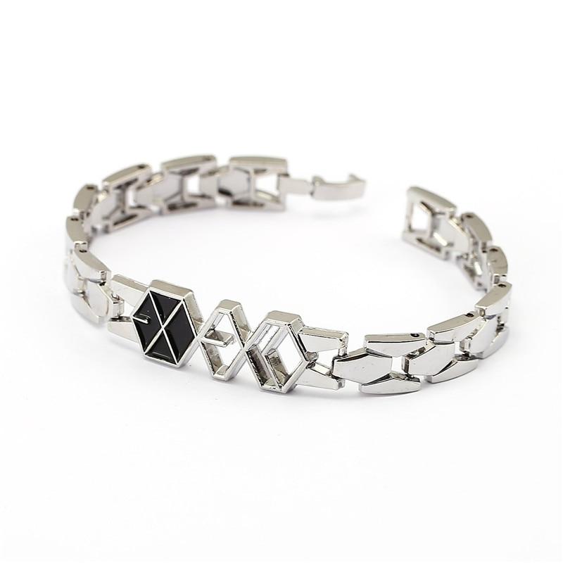 2016 New Design Punk Style Famous Band Exo Metal Bracelet 19cm Bangle Charms Jewelry For Fans Unisex Hf12022 Bracelets & Bangles