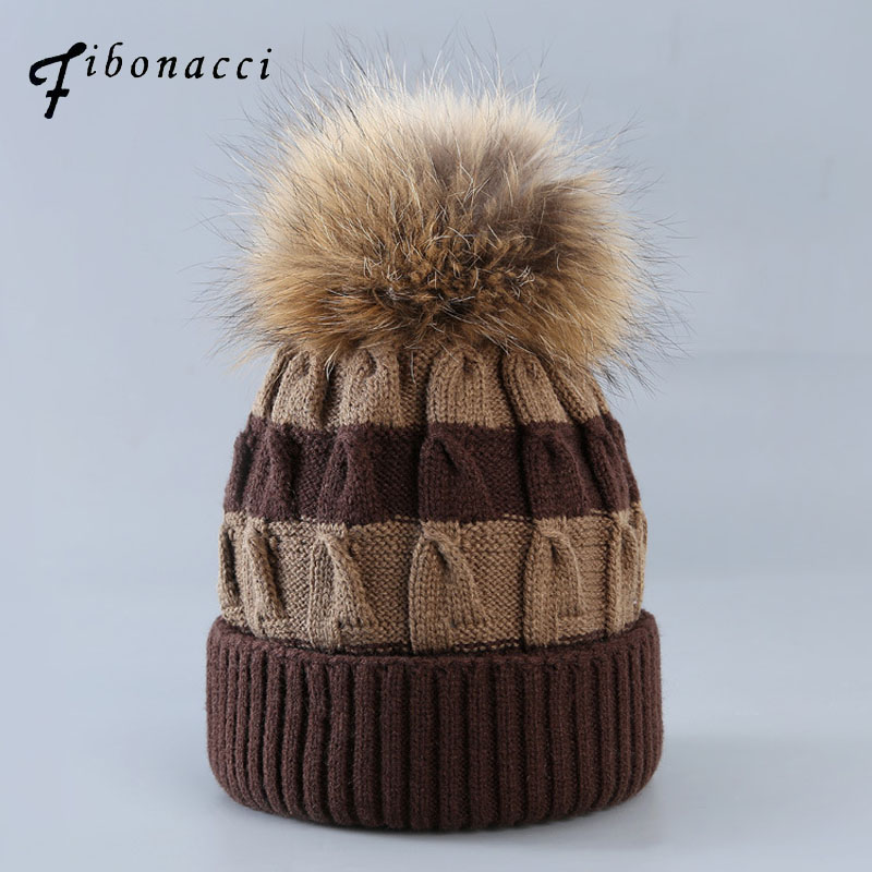Fibonacci 2017 New Winter hats for woman beanies caps warmer bonnet ladies casual rabbit hair ball mixed colors twisted knit hat 4pcs new for ball uff bes m18mg noc80b s04g