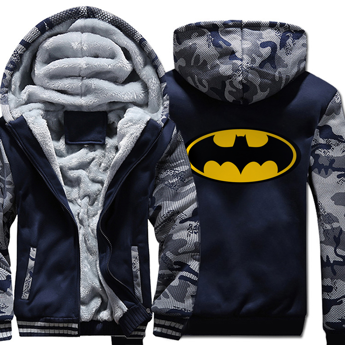 men 39 s hooded wool liner jackets warm Hip Hop brand clothing 2019 winter Cartoon funny sweatshirt fitness Camouflage sleeve coats in Hoodies amp Sweatshirts from Men 39 s Clothing