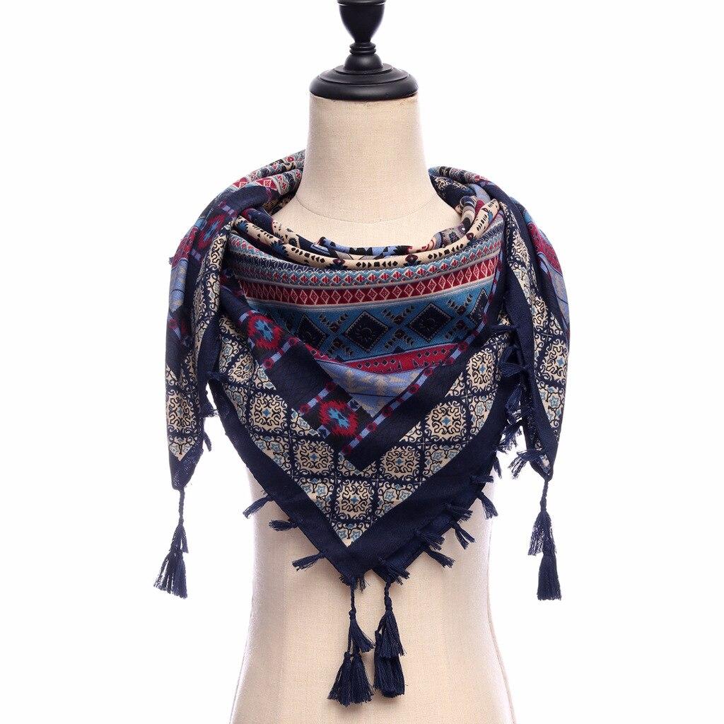 women scarf vintage print shawl wrap lady travel pashmina high quality cotton bandana square winter scaves woman