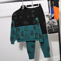 Spring Autumn Women Suit Set Knitted Tracksuit Two piece Set Sweater and Pant Suit Contrast Color Embroidery Female Sweatsuit
