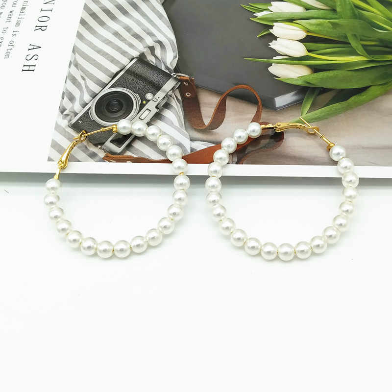 2019 New Trendy Imitation Pearl Hoop Earrings for Women Round Circle Fashion Wedding Earrings Gift For Friend Wholesale Brincos