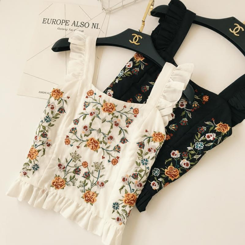 2018 Spring Women Tanks Embroidery Camis HIgh waits Short Tops