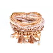 5d22dc8af6d3 MJARTORIA 2018 bohemio étnico multicapa Vintage cuentas pulseras Boho  declaración borla pulsera brazaletes para mujer joyería