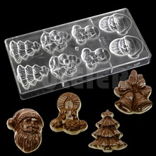 Christmas series Santa Claus bell shape polycarbonate chocolate mold,cheap kitchen bakeware baking cake candy chocolate mould